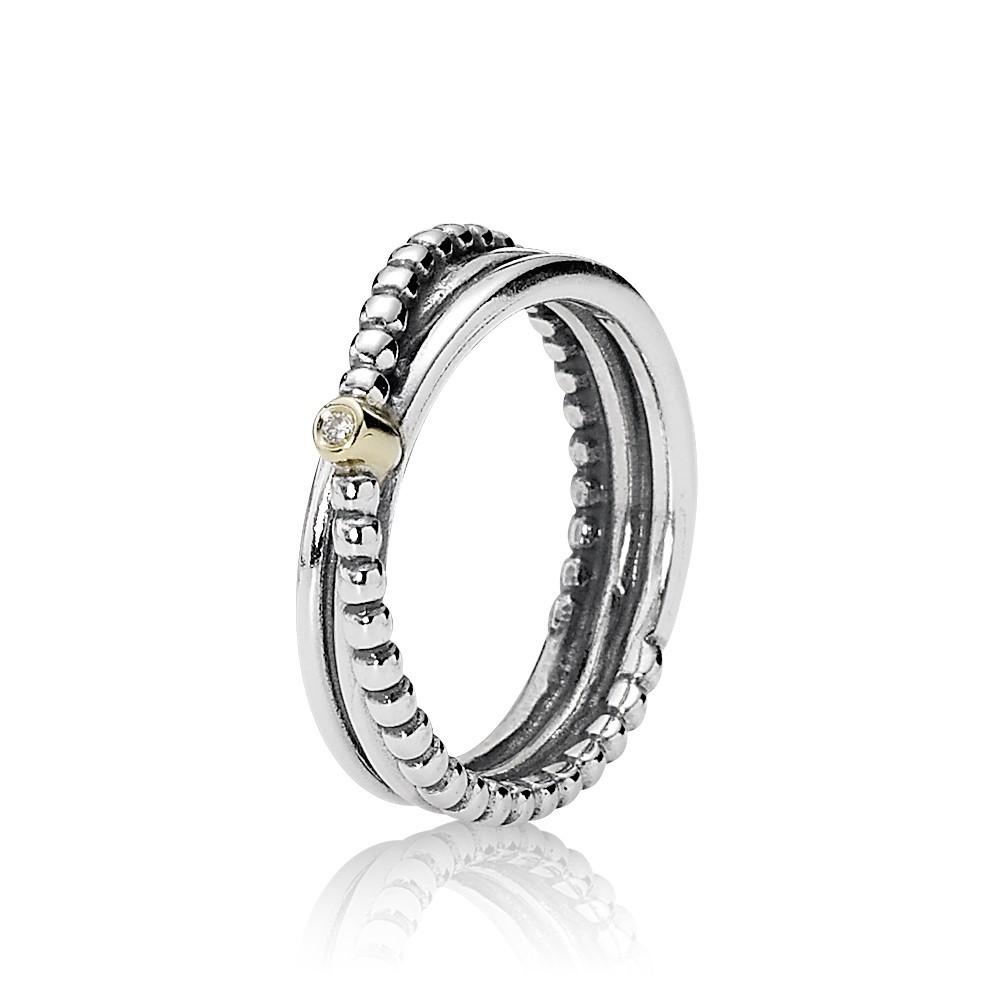 Silver ring, 14k, 0,01ct ghvs diamond