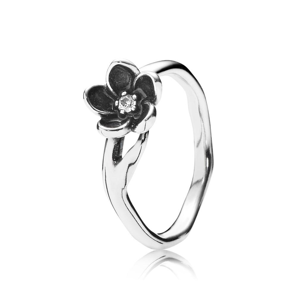 טבעת פריחה מיסטית כסף סטרלינג בשילוב אמייל שחור