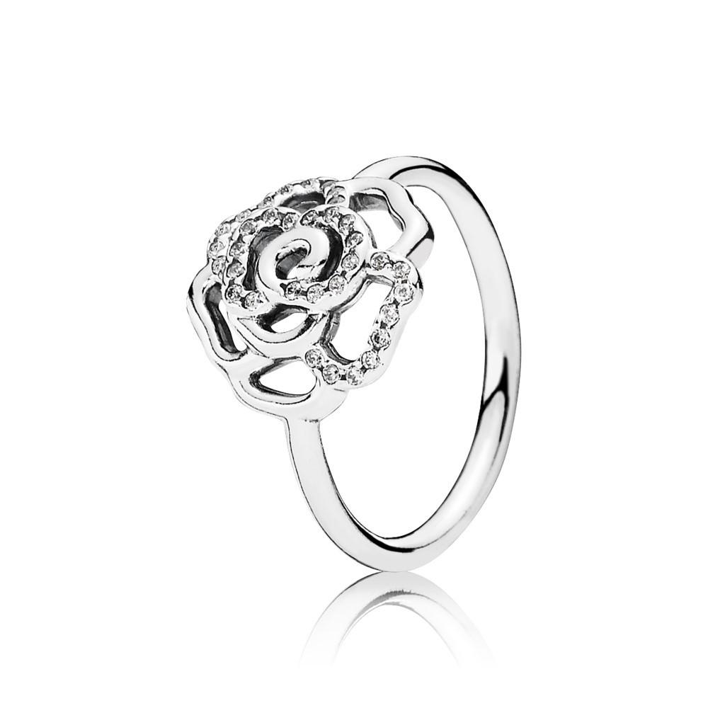 טבעת ורד מנצנץ מכסף סטרלינג בשיבוץ זרקונים