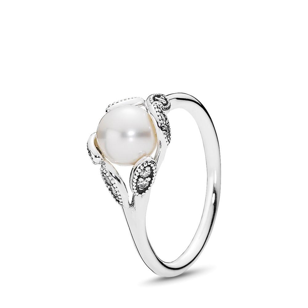 טבעת כסף עלים בוהקים