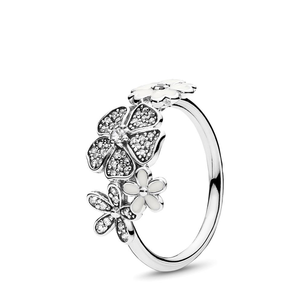 טבעת כסף זר  פרחים נוצץ