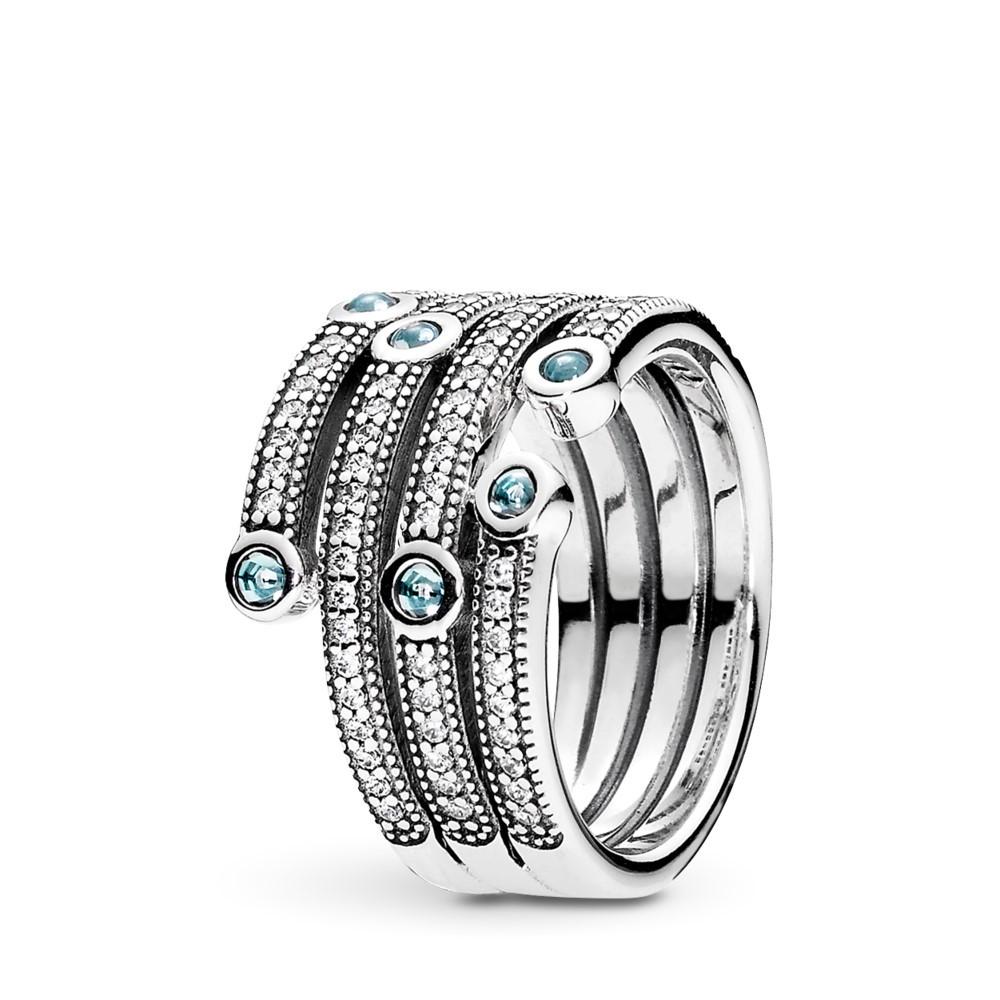 טבעת כסף אוקיינוס מנצנץ