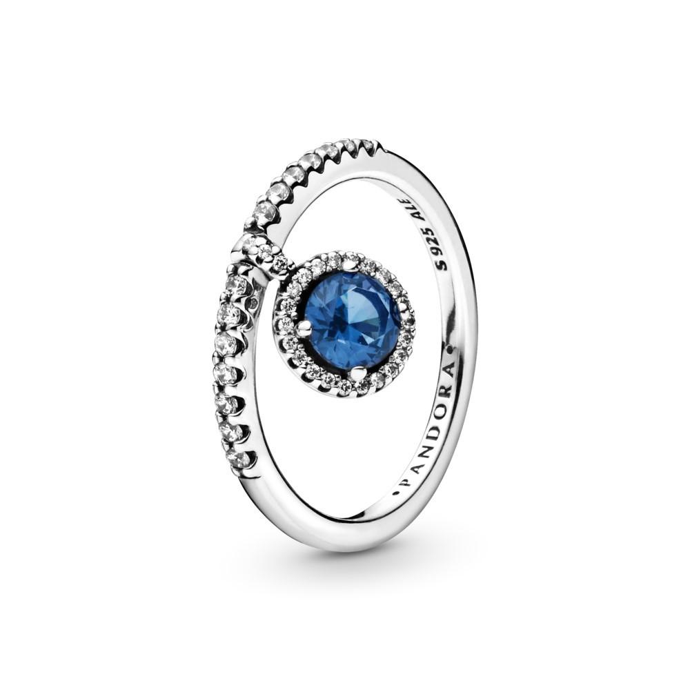 טבעת כסף מדליון כחול נוצץ
