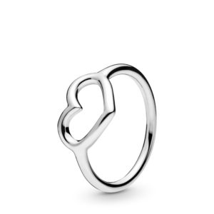 טבעת כסף לב פתוח בוהק