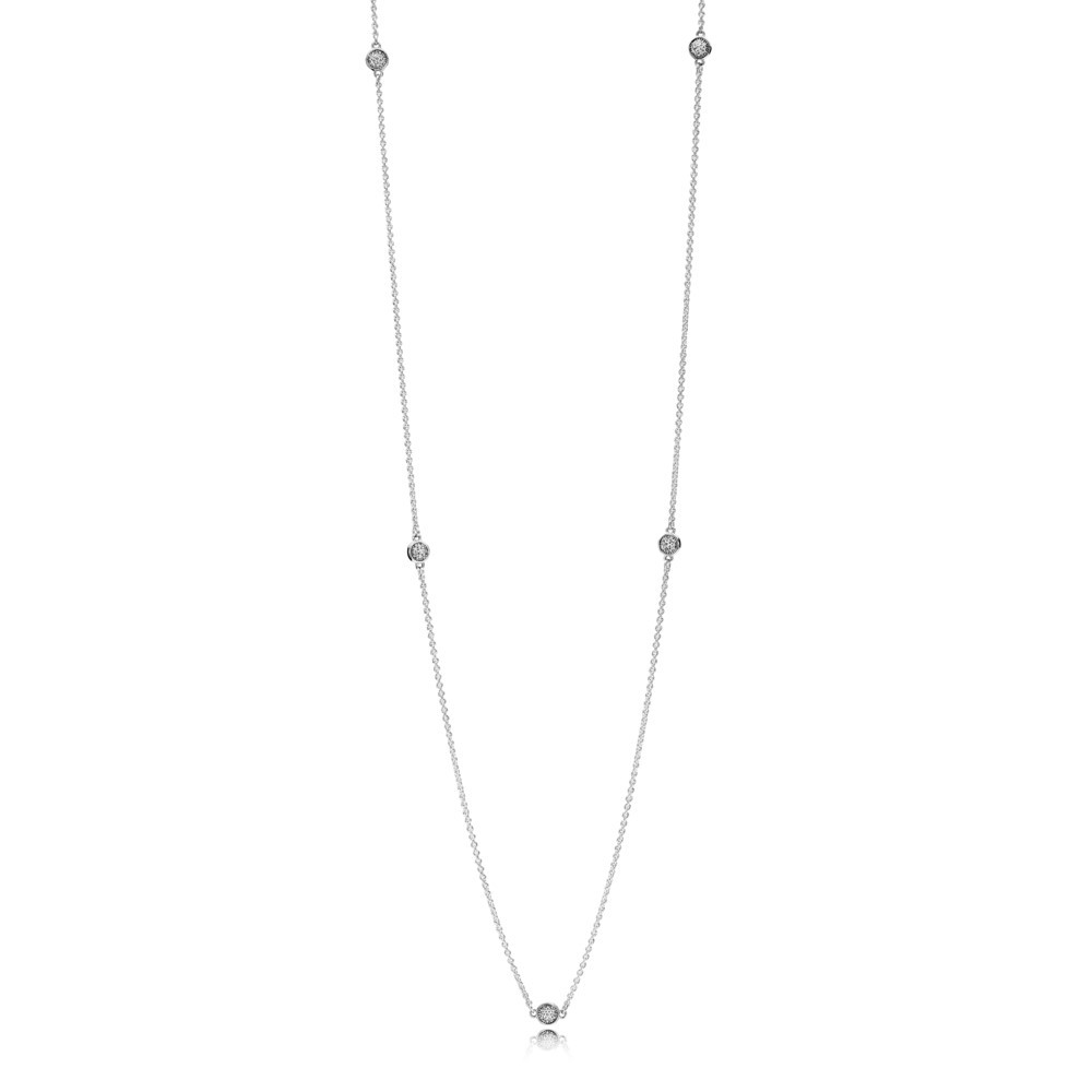 Silver necklace with clear cubic zirconia