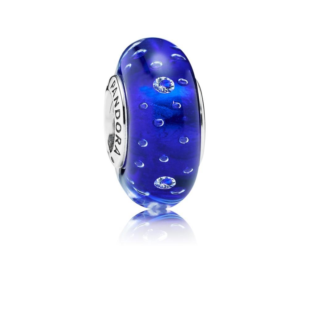 צארמ מבעבע זכוכית מוראנו כחול רויאל