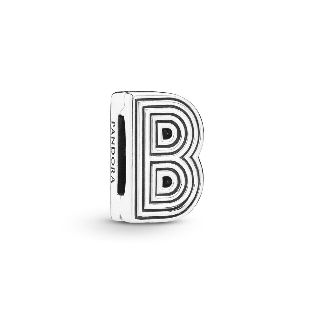 קליפס כסף שטוח האות B