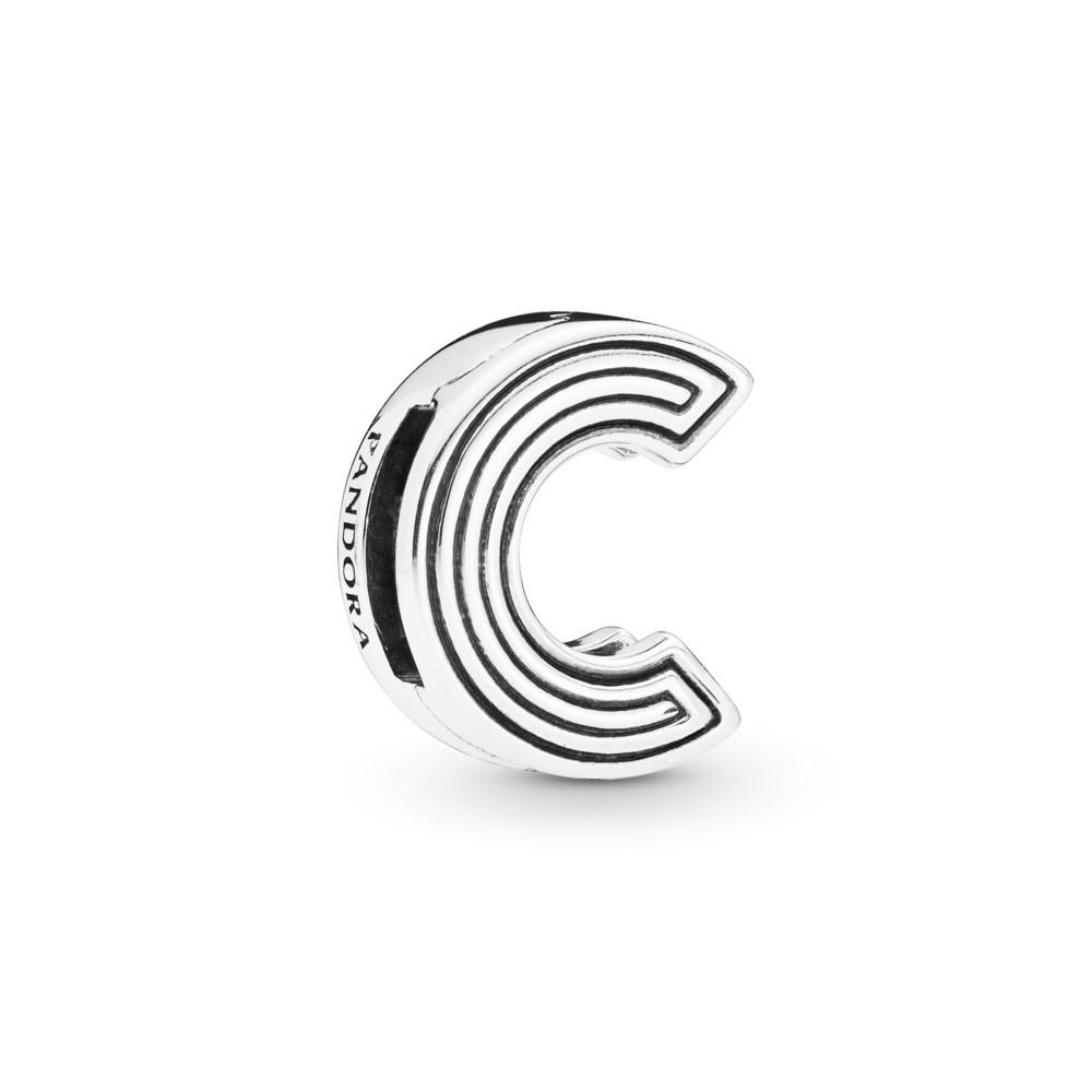 קליפס כסף שטוח האות C