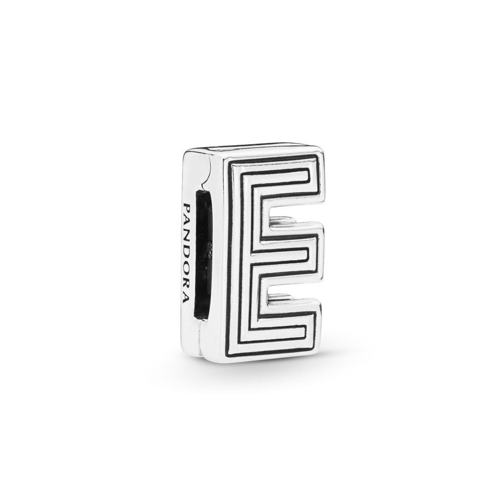 קליפס כסף שטוח האות E