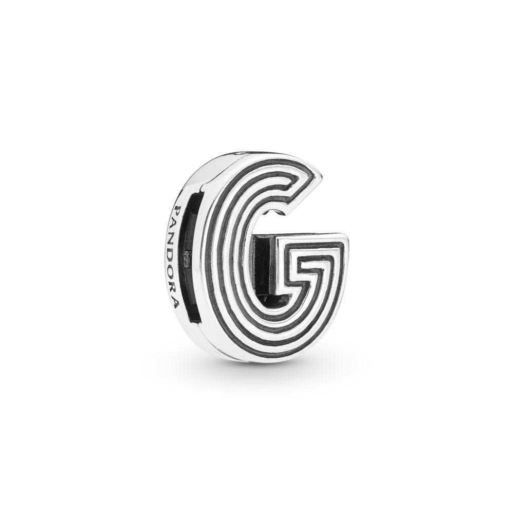קליפס כסף שטוח האות G