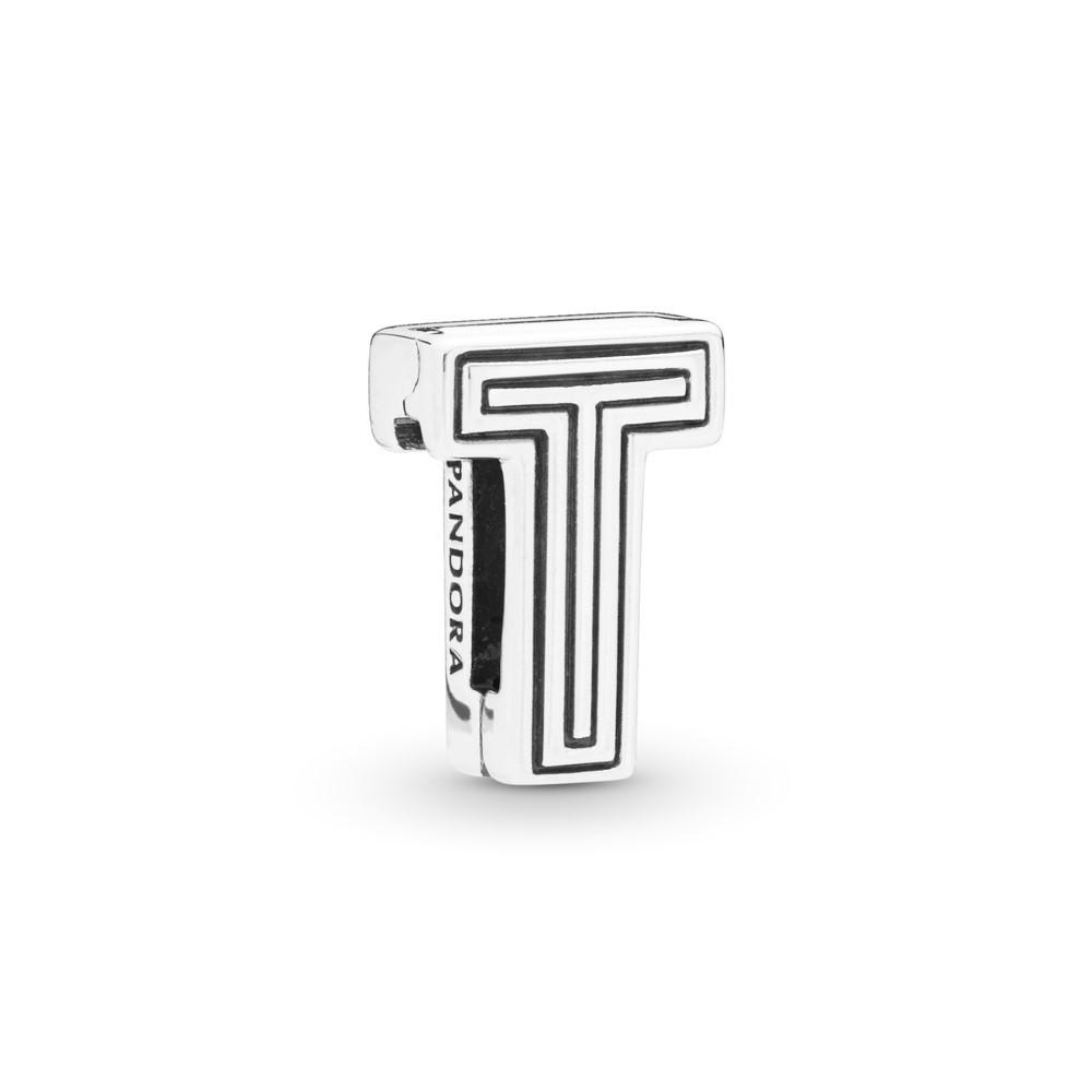 קליפס כסף שטוח האות T