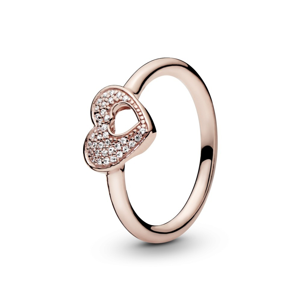 PANDORA Rose heart ring with clear cubic zirconia