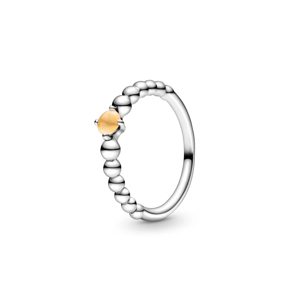 טבעת כסף מחרוזת לב דבש