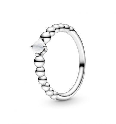 טבעת כסף מחרוזת לב לבן חלבי