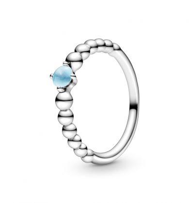 טבעת כסף מחרוזת לב כחול שמיים