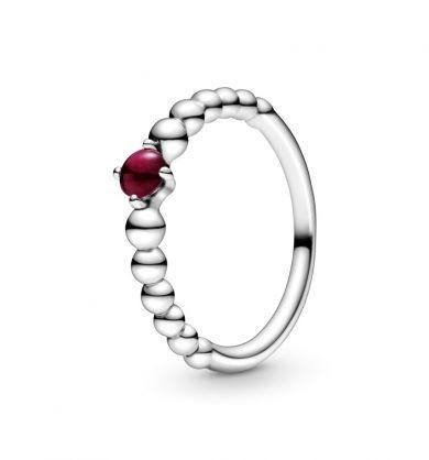 טבעת כסף מחרוזת לב אדום כהה