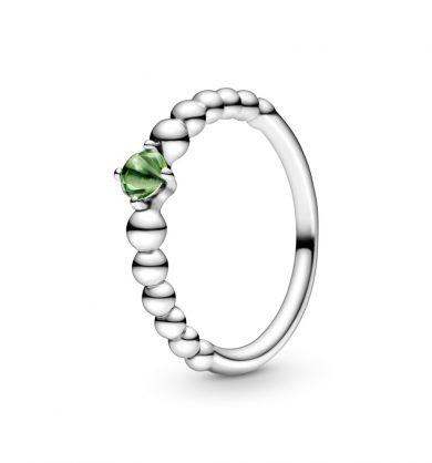 טבעת כסף מחרוזת לב ירוק אביבי