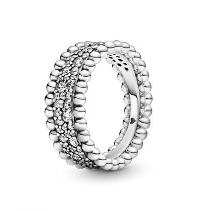 טבעת כסף רחבה מחרוזת פאווה