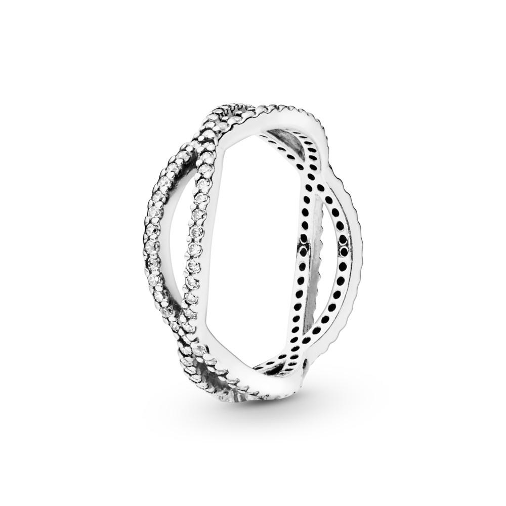 טבעת כסף כלים שלובים בשיבוץ זרקונים