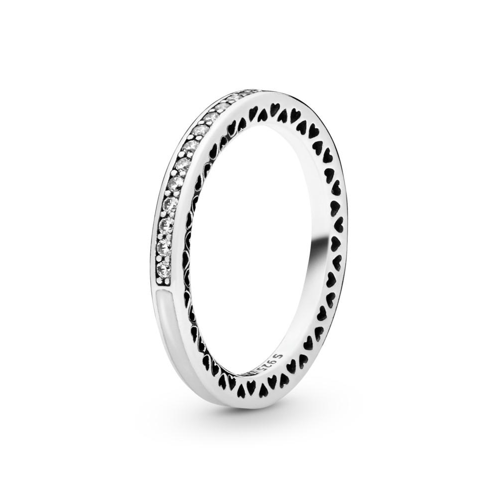 טבעת כסף לבבות PANDORA בוהקים