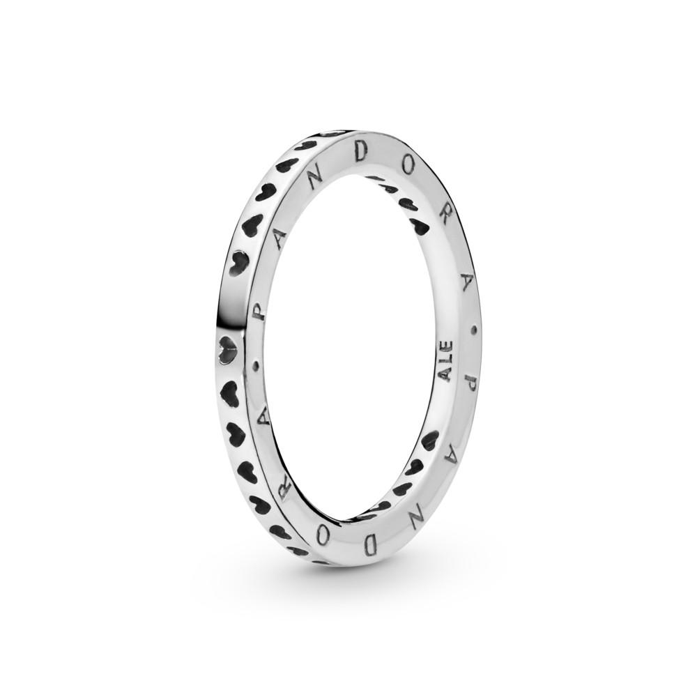 טבעת כסף חתימת לבבות PANDORA