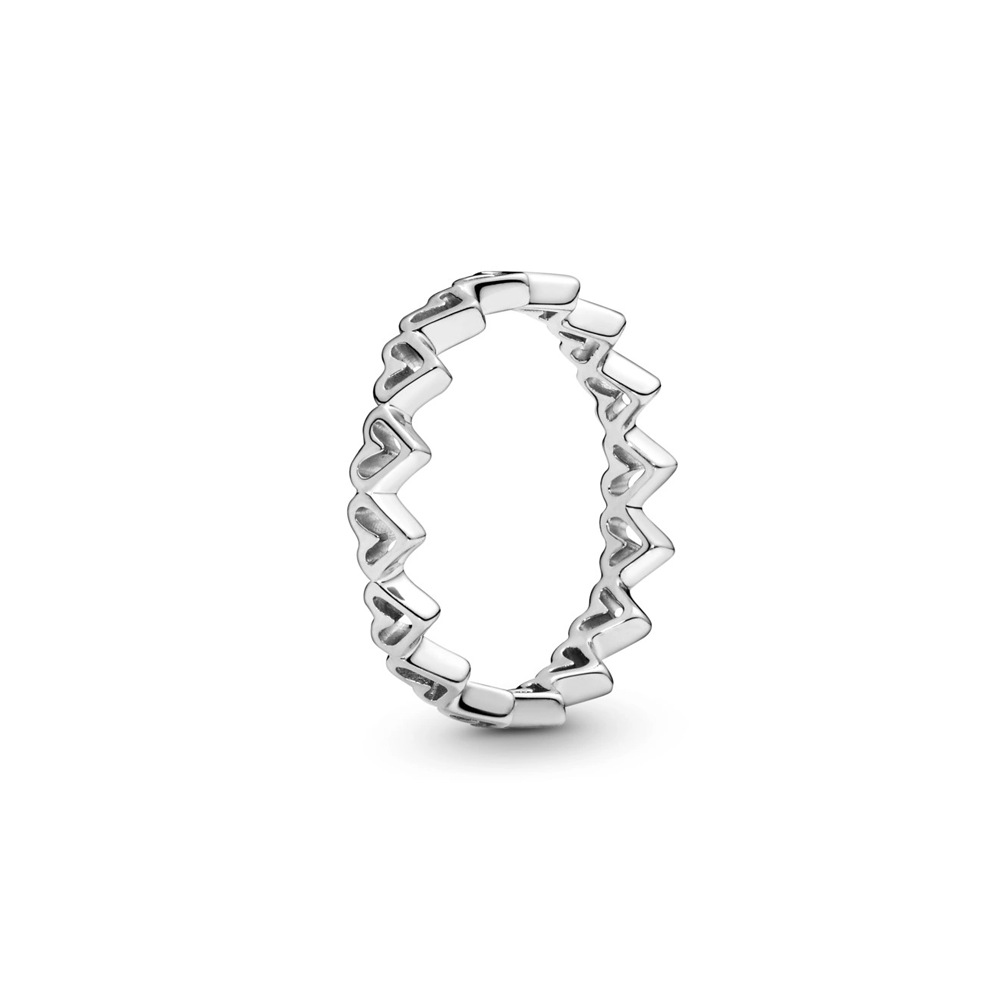 טבעת כסף לבבות מאויירים